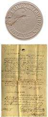 Images of court seal and freedom certificate
