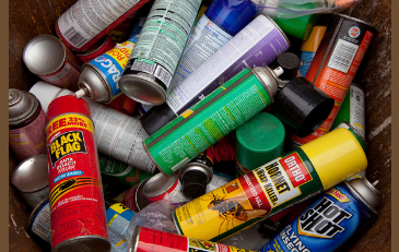 Photo of assorted household hazardous waste