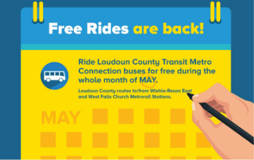 Image of calendar with text about free bus rides in May 2019