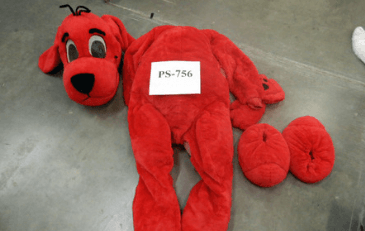 Photo of big red dog costume