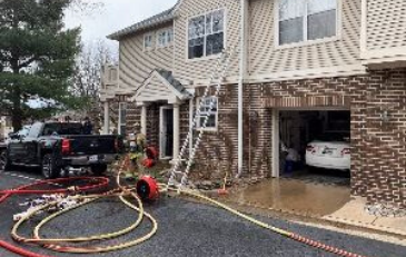 Photo of response to house fire in Ashburn