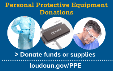Image of personal protective equipment and donate button