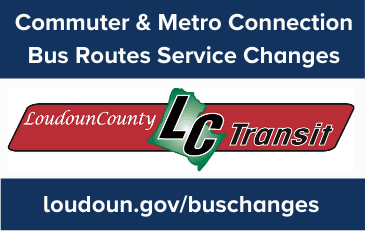 Image of Loudoun County Transit Logo with Announcement of Service Changes in November 2020