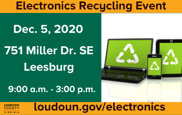 Image of information about an electronics recycling event December 5 in Leesburg