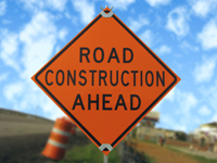 Image of road construction ahead sign
