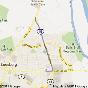 Google map directions via US-15 from the north